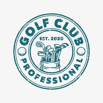 Modello d'annata professionale di logo del club di golf retro con l'illustrazione della sacca da golf