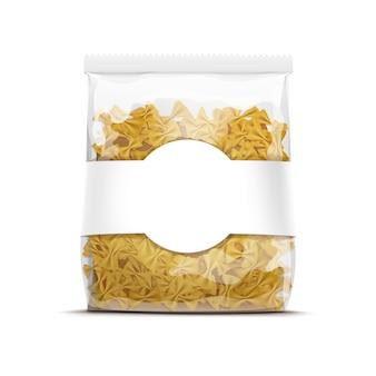 Modello d'imballaggio della pasta del farfallino di farfalle isolato