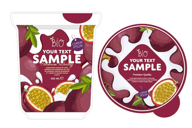 Modello d'imballaggio dello yogurt del frutto della passione.