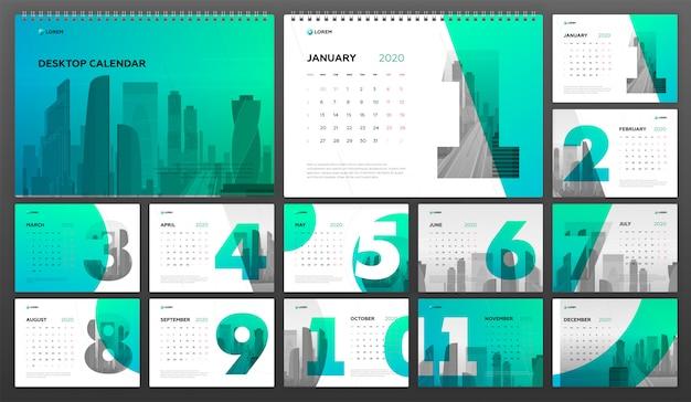 Modello da tavolo calendar 2020 business