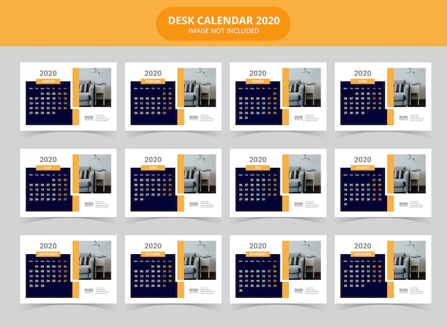 Modello da tavolo calendario 2020
