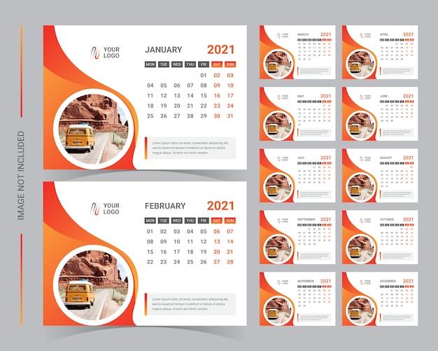 Modello da tavolo calendario 2021