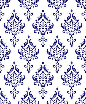 Modello damascato blu e bianco senza soluzione di continuità