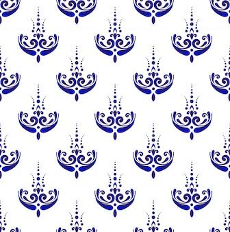 Modello damascato senza soluzione di continuità, sfondo blu e bianco