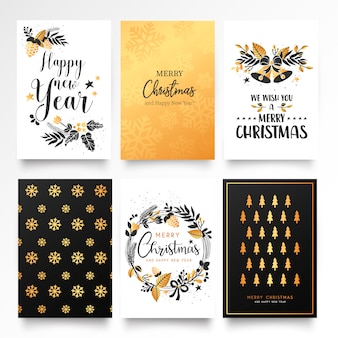 Modello decorativo della cartolina di natale con gli ornamenti dorati