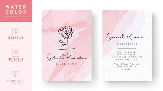 Modello del biglietto da visita dell'acquerello - concetto rosa del biglietto da visita dell'estratto dell'acquerello di ross