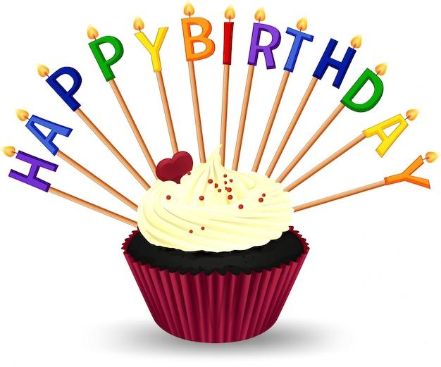 Modello del biglietto di auguri per il compleanno con cupcake e candele