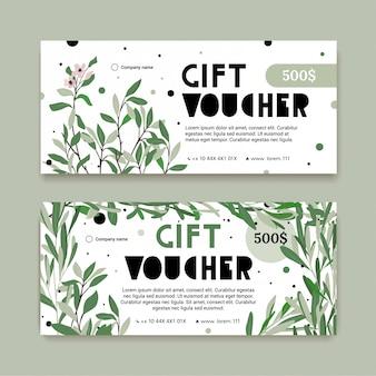 Modello del buono regalo con piante