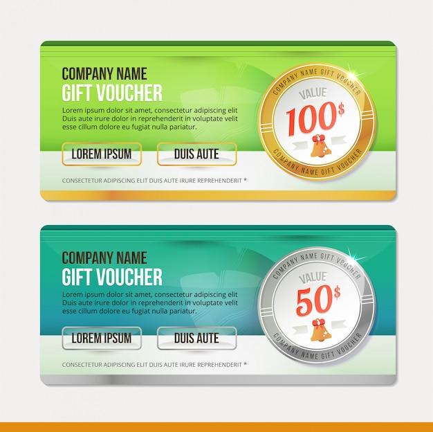 Modello del buono regalo disegno dell'illustrazione pulito e moderno. coupon.