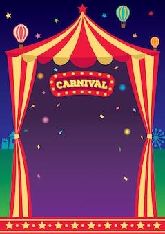 Modello del circo di carnevale di notte