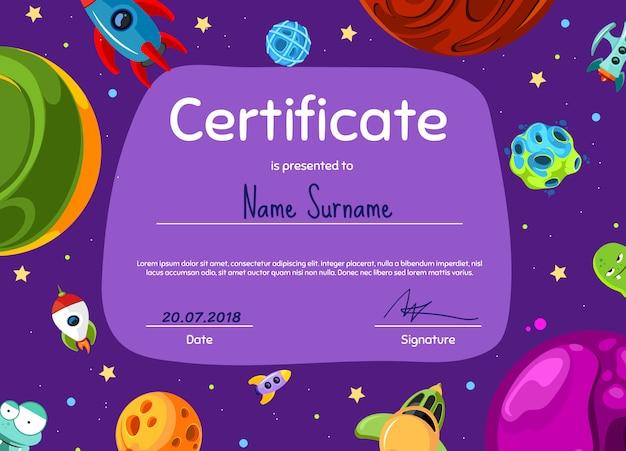 Modello del diploma o del certificato dei bambini con con i pianeti dello spazio del fumetto e l'illustrazione delle navi