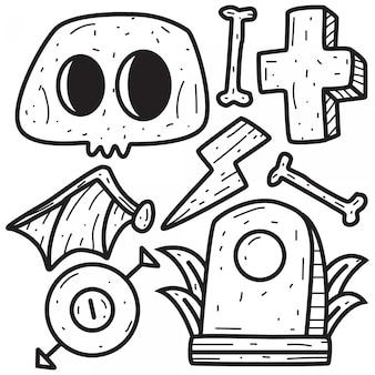 Modello del disegno della mano di progettazione di scarabocchio del cranio del fumetto