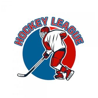 Modello del distintivo di logo della lega dell'hockey