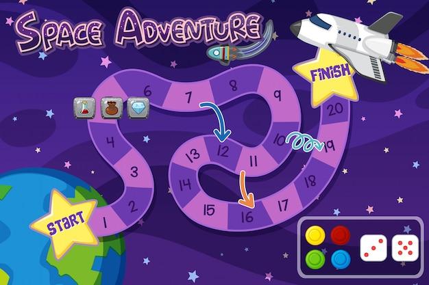 Modello del fondo del gioco con l'astronave in cielo