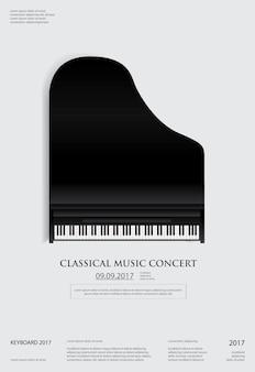 Modello del fondo del manifesto del pianoforte a coda di musica