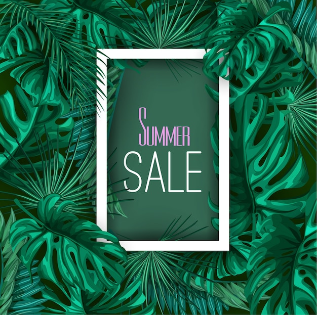 Modello del fondo del manifesto dell'insegna di vendita di estate delle foglie tropicali. jungle forest palm monstera floreale pianta esotica cornice botanica aloha hawaii. vintage retrò primavera illustrazione beach party layout