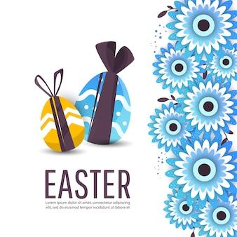 Modello del fondo dell'insegna di vendita di pasqua con le uova del regalo.