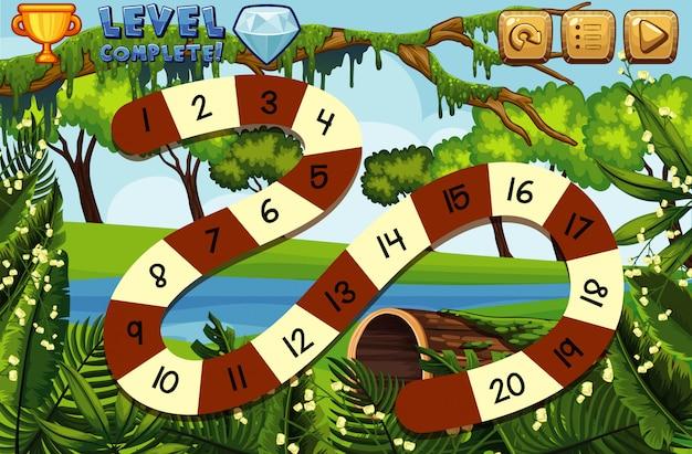 Modello del gioco da tavolo con il fondo della foresta e del fiume