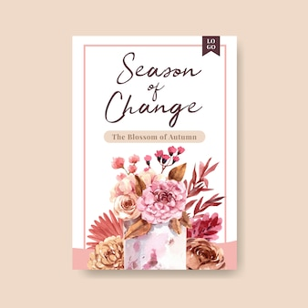 Modello del manifesto con progettazione di massima del fiore di autunno per l'illustrazione dell'acquerello di vendita e dell'opuscolo.