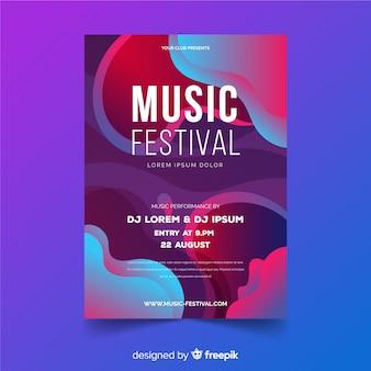 Modello del manifesto del festival di musica con effetto liquido