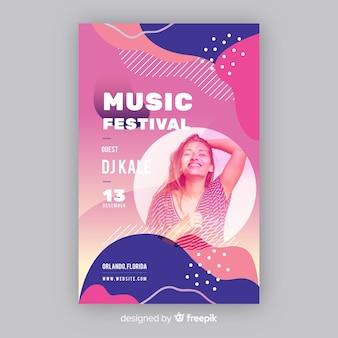 Modello del manifesto del festival di musica con la foto