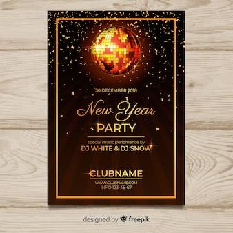Modello del manifesto del nuovo anno della palla da discoteca