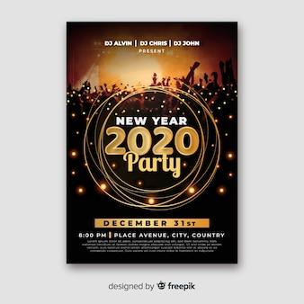 Modello del manifesto del partito del nuovo anno 2020 con foto