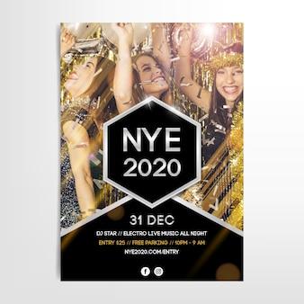 Modello del manifesto del partito del nuovo anno 2020 con immagine