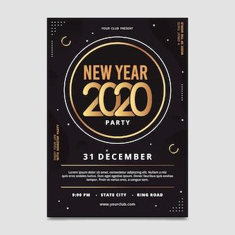 Modello del manifesto del partito del nuovo anno 2020 nella progettazione piana