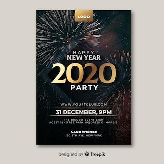 Modello del manifesto del partito del nuovo anno con la foto