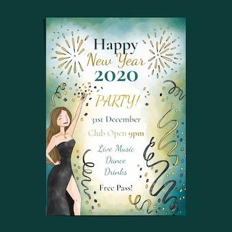 Modello del manifesto del partito dell'acquerello nuovo anno 2020