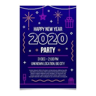 Modello del manifesto del partito di capodanno in stile del contorno