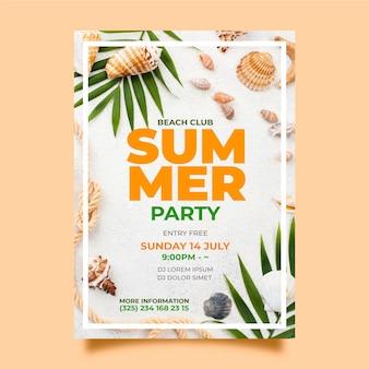 Modello del manifesto del partito di estate con la foto