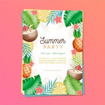 Modello del manifesto del partito di estate dell'acquerello