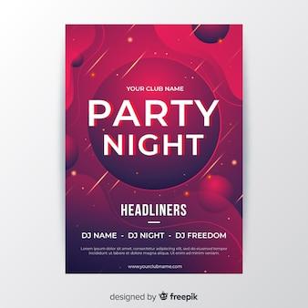 Modello del manifesto del partito di notte astratta