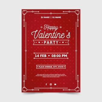 Modello del manifesto del partito di san valentino nella progettazione piana