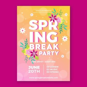 Modello del manifesto del partito di vacanze di primavera