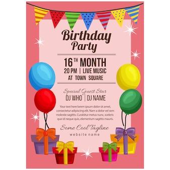 Modello del manifesto della festa di compleanno con la bandiera dell'aerostato presente