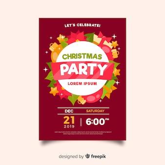 Modello del manifesto della festa di natale di design piatto