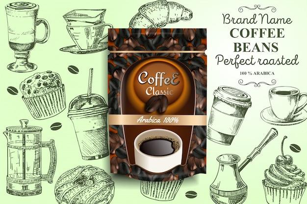 Modello del manifesto di annunci di chicchi di caffè tostato