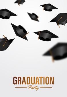 Modello del manifesto di cerimonia di laurea festa di lusso con tappi di laurea gettando in aria