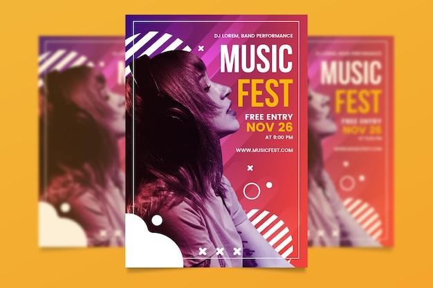 Modello del manifesto di eventi musicali con foto