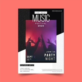 Modello del manifesto di evento di musica di notte di festa