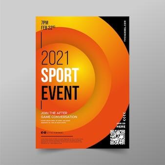 Modello del manifesto di evento sportivo dei cerchi arancio di pendenza 3d