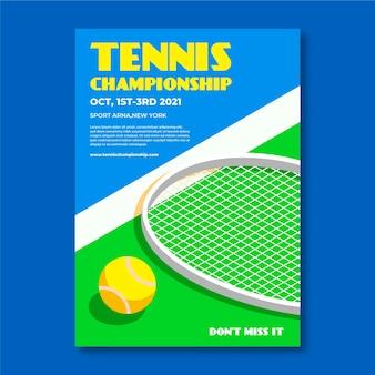 Modello del manifesto di evento sportivo di campionato di tennis