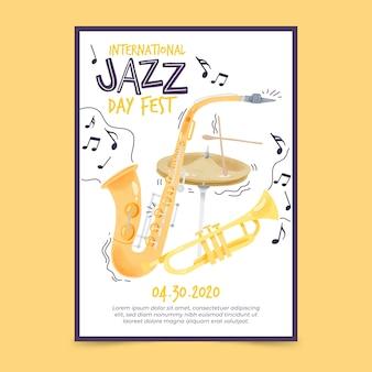 Modello del manifesto di giorno di jazz internazionale dell'acquerello