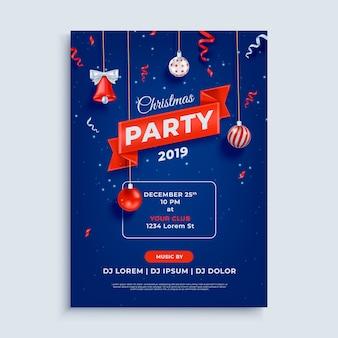 Modello del manifesto di layout festa di natale allegro