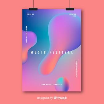 Modello del manifesto di musica con effetto liquido