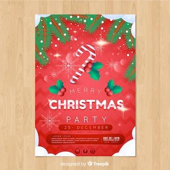 Modello del manifesto di nevicata della canna di caramella della festa di natale