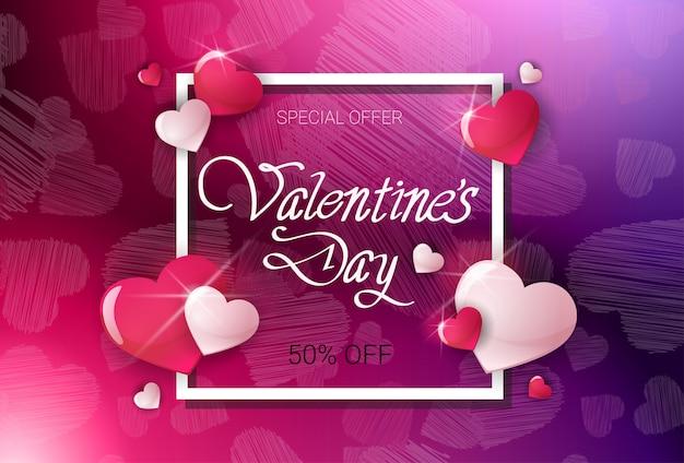 Modello del manifesto di offerta di sconto di valentine day vendita aletta di filatoio fuori dal disegno dell'insegna